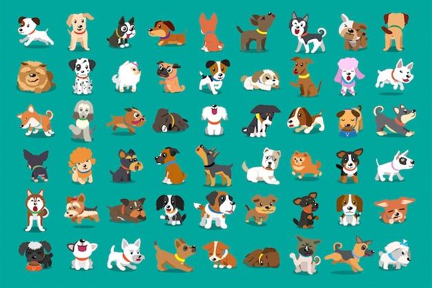 Diversi tipi di cani dei cartoni animati Vettore Premium