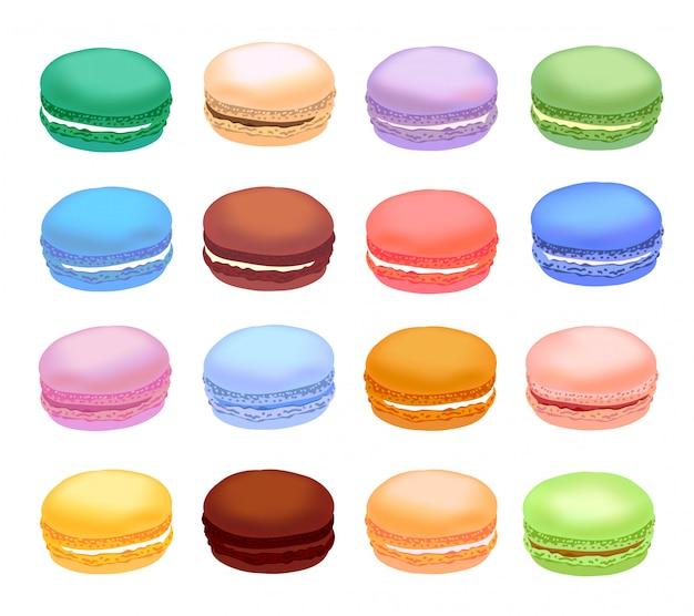 Diversi tipi di amaretti. set di macarons torta diversi gusti. stile realistico. Vettore Premium