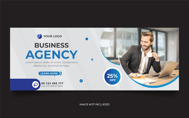 Modello di banner di copertina della timeline di facebook dell'agenzia digitale Vettore Premium