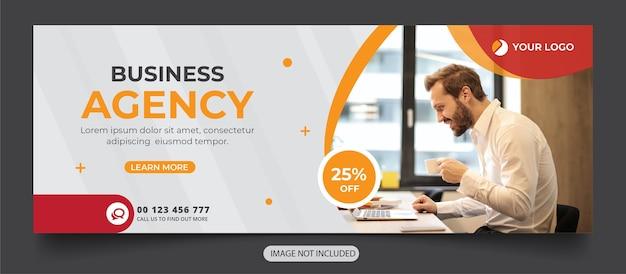 Modello di banner di copertina dei social media dell'agenzia digitale Vettore Premium