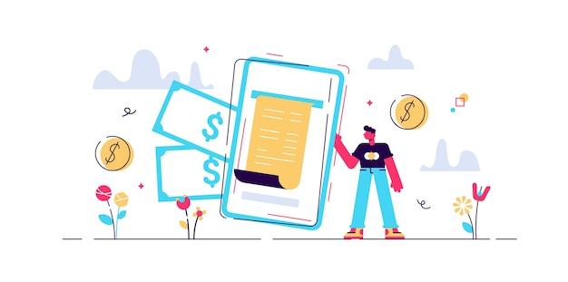 Illustrazione della fattura digitale. persone minuscole del portafoglio del telefono. metodo di pagamento finanziario elettronico moderno. servizio di transazione bancaria. tecnologia per dispositivi mobili per acquisti online sicuri Vettore Premium