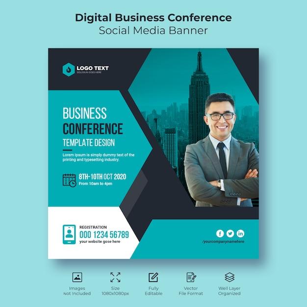 Banner di social business conferenza digitale o modello di volantino quadrato Vettore Premium