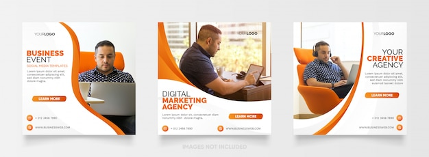 Modello della posta del instagram dell'agenzia di marketing di affari digitali Vettore Premium