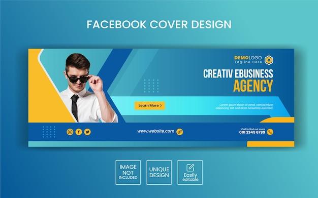 Modello di copertina facebook di marketing aziendale digitale Vettore Premium