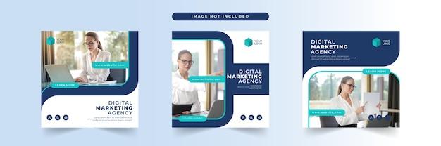 Modello di post sui social media di marketing aziendale digitale Vettore Premium