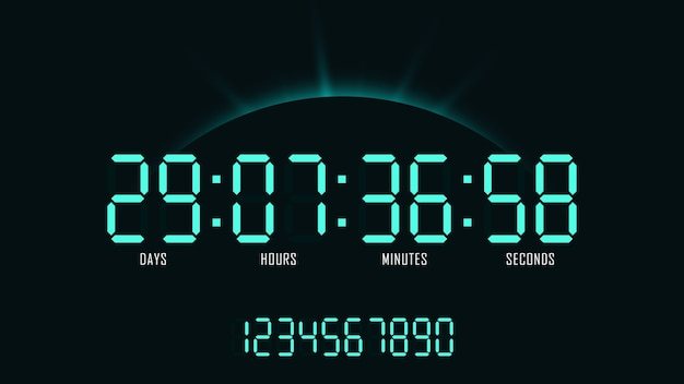 Orologio digitale con conto alla rovescia sullo sfondo di alba. layout dei numeri per la progettazione e la promozione del sito web. Vettore Premium