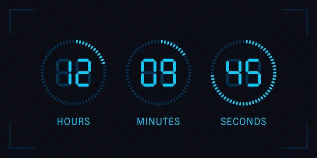 Conto alla rovescia digitale bordo cerchio con diagramma a torta tempo cerchio. icona cronometro, timer digitale. guarda il design in stile contorno, progettato per web e app. Vettore Premium