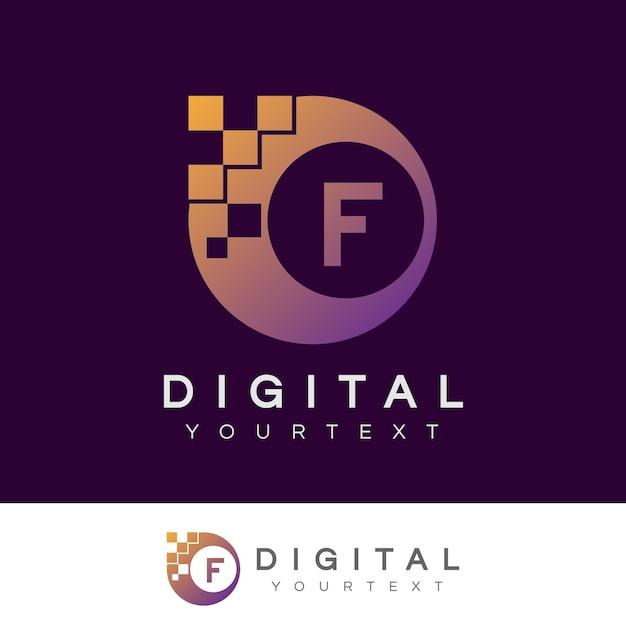 Disegno iniziale digitale f lettera Vettore Premium