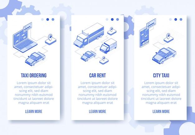 Trasporto banner isometrico digitale Vettore Premium