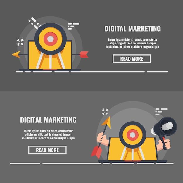 Bandiera di concetto di marketing e pubblicità digitale, concetto di media pr Vettore Premium