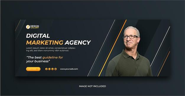 Agenzia di marketing digitale e modello di progettazione di banner web creativo moderno Vettore Premium