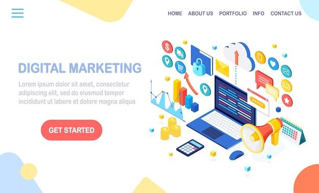 Concetto di marketing digitale. computer isometrico 3d, laptop, pc con grafico dei soldi, grafico, cartella, megafono, altoparlante Vettore Premium
