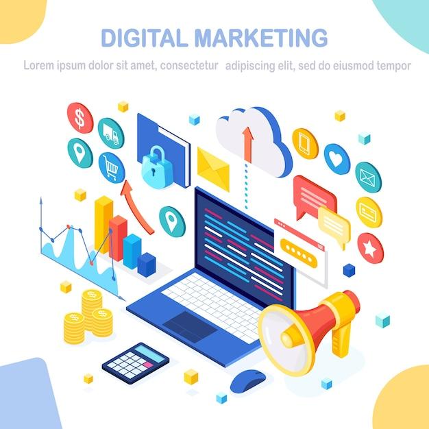 Concetto di marketing digitale. computer isometrico, laptop, pc con grafico dei soldi, grafico, cartella, megafono, altoparlante. sviluppo aziendale, strategia, pubblicità. analisi dei social media. Vettore Premium