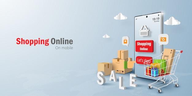 Concetto di marketing digitale shopping online su applicazione mobile Vettore Premium