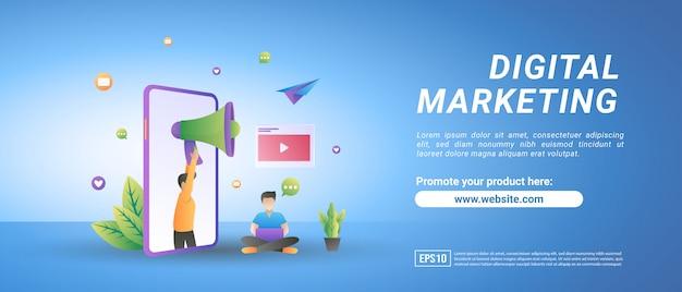 Concetto di marketing digitale. le persone pubblicizzano prodotti sui social media, condividono contenuti video promozionali. Vettore Premium