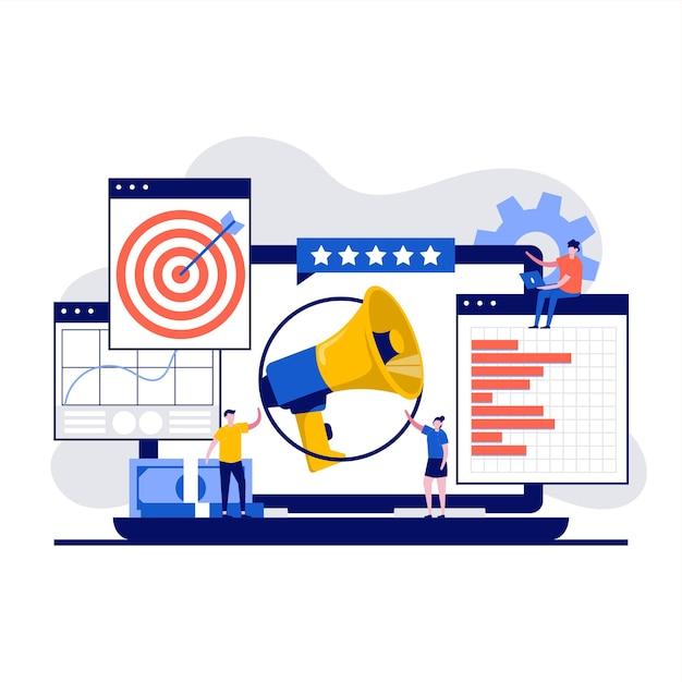Concetto di marketing digitale con carattere promotore. Vettore Premium