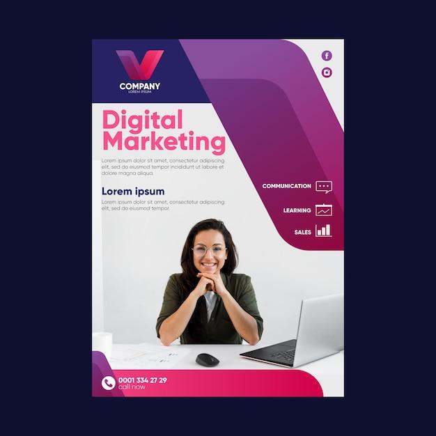 Modello di volantino di marketing digitale Vettore Premium
