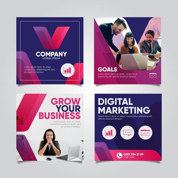 Raccolta di post instagram di marketing digitale Vettore Premium