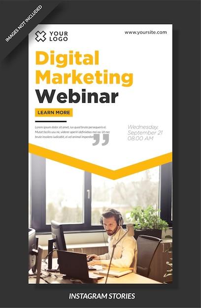 Modello di storie di instagram di marketing digitale Vettore Premium