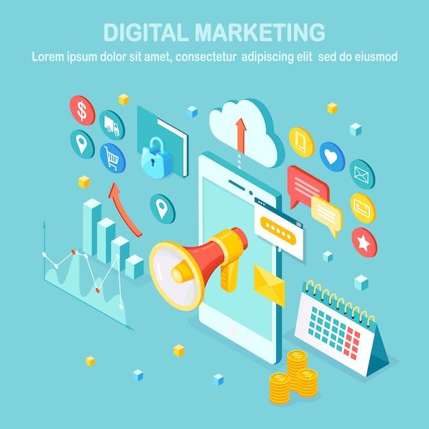 Marketing digitale. cellulare isometrico, smartphone con soldi, grafico, cartella, megafono, altoparlante, megafono. pubblicità della strategia di sviluppo aziendale. analisi dei social media Vettore Premium