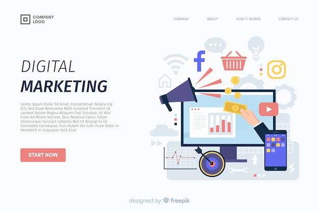 Modello di landing page di marketing digitale Vettore Premium