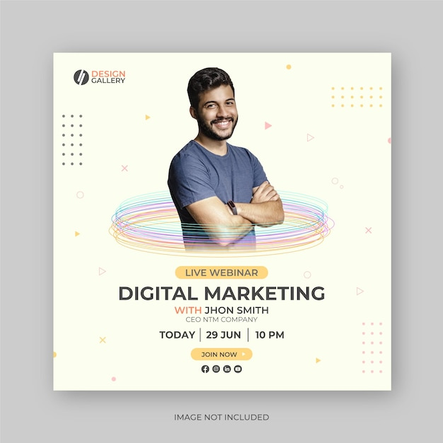 Digital marketing live webinar social media post banner design template Vettore Premium