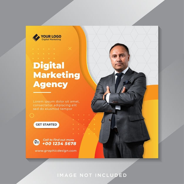 Modello di banner di social media di marketing digitale Vettore Premium