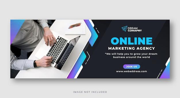 Banner web di copertina di facebook di social media di marketing digitale Vettore Premium