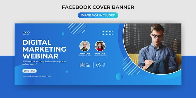 Webinar di marketing digitale modello di banner per copertina di facebook Vettore Premium