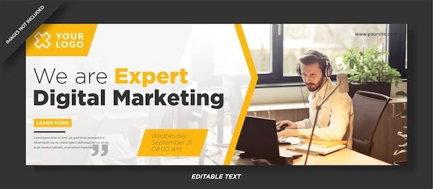 Webinar di marketing digitale modello di copertina di facebook design Vettore Premium