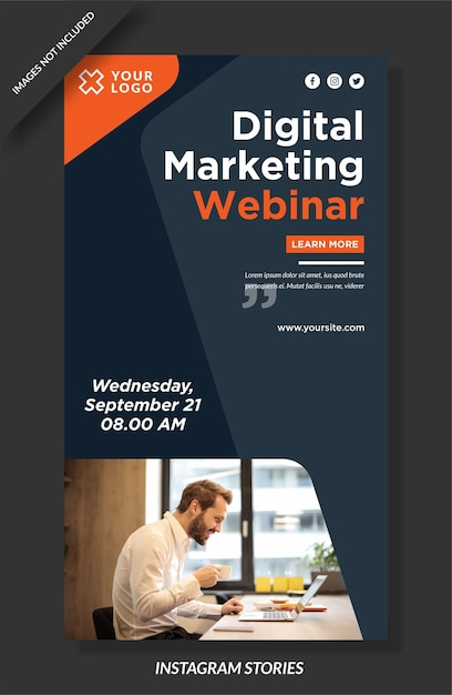 Modello di storie instagram webinar marketing digitale Vettore Premium