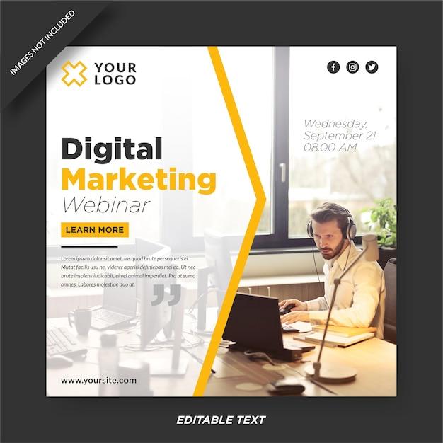 Progettazione del modello instagram webinar marketing digitale Vettore Premium