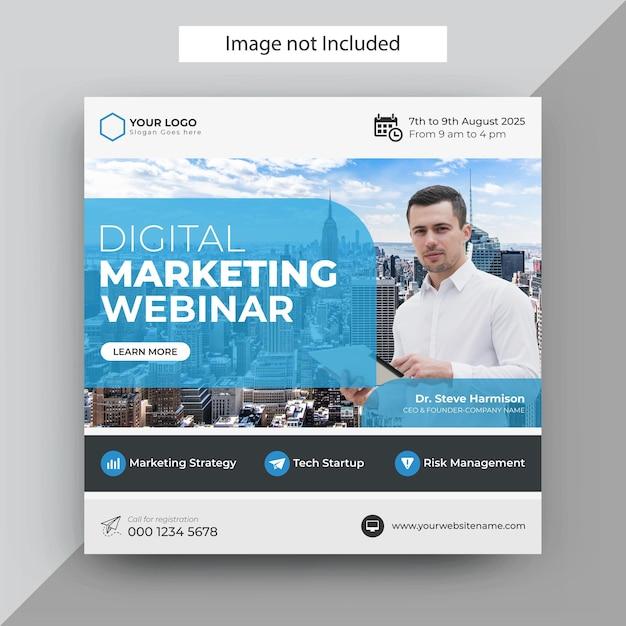Webinar di marketing digitale modello di post sui social media, modello di post di instagram Vettore Premium