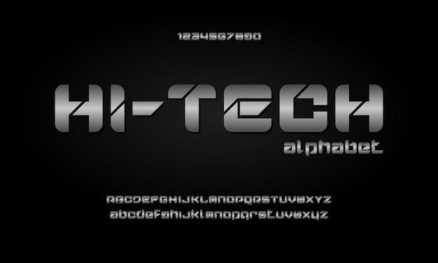 Caratteri alfabetici moderni digitali. tecnologia tipografica astratta elettronica, sport, musica, carattere creativo futuro Vettore Premium