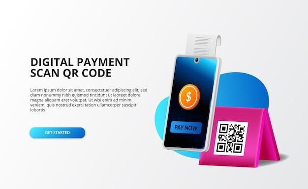 Pagamento digitale, concetto senza contanti. pagare con il telefono e scansionare il codice qr, il digital banking e il concetto di illustrazione 3d dei soldi per il modello di pagina di destinazione Vettore Premium