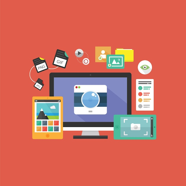Fotografia digitale Vettore Premium