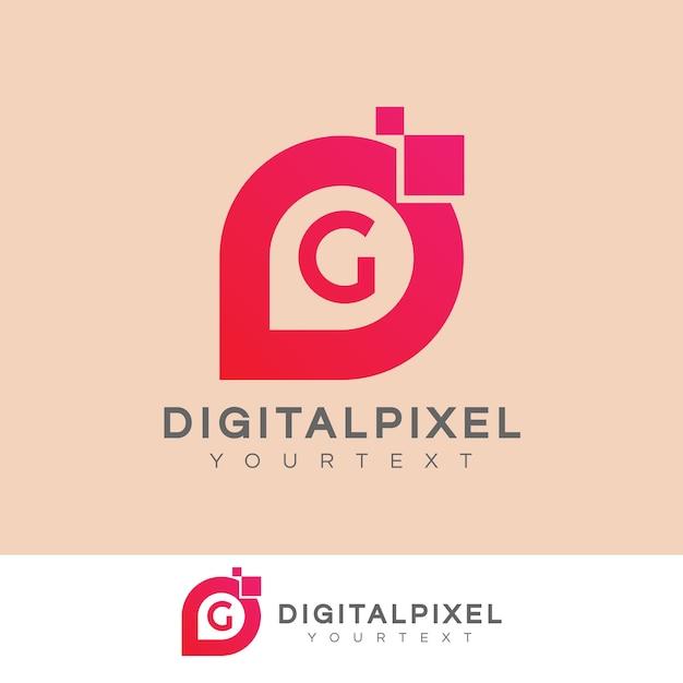Iniziale di pixel digitali lettera g logo design Vettore Premium
