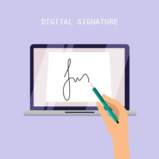 Concetto di firma digitale. contratto online sullo schermo. illustrazione. Vettore Premium