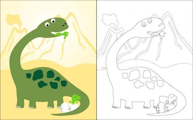 Cartone animato di dinosauro con il suo bambino Vettore Premium