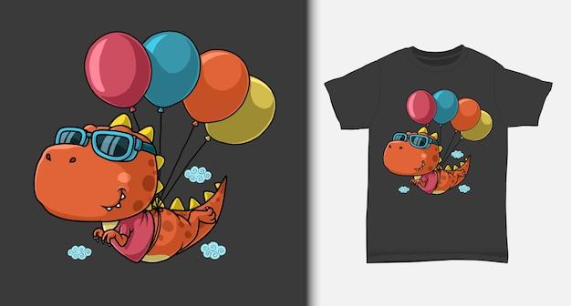 Dinosauro che vola con palloncino con design tshirt Vettore Premium