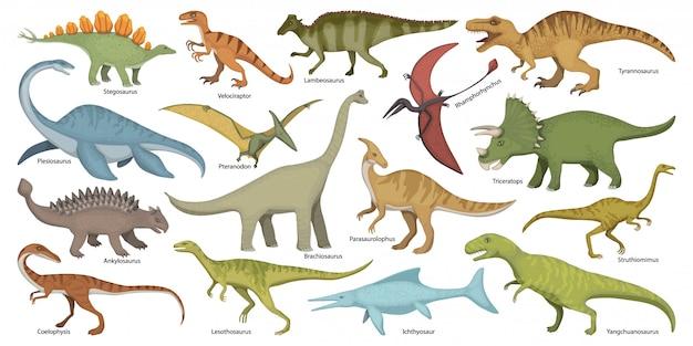 Icona stabilita del fumetto isolata dinosauro. cartoon set icon dino animal. Vettore Premium