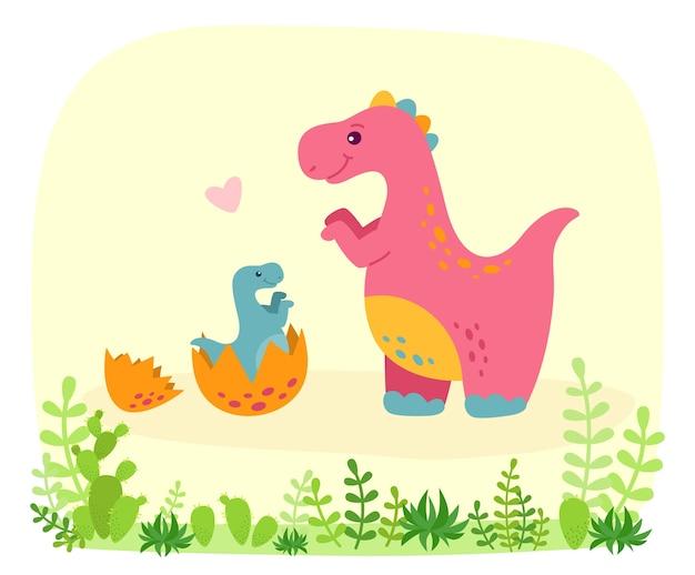 Dinosauro con baby dino, stile cartoon. divertente tyrannosaurus rex con piante e cactus. illustrazione di bambini divertenti carino colorato Vettore Premium