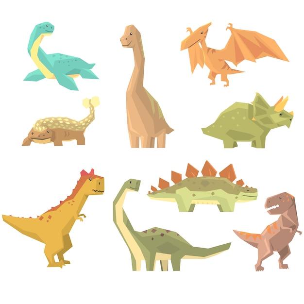 Dinosauri del periodo giurassico set di animali realistici del fumetto di rettili estinti preistorici. Vettore Premium