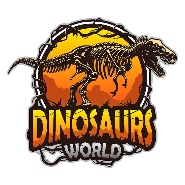 Emblema del mondo di dinosauri con scheletro di tirannosauro. colorato isolato su sfondo bianco Vettore Premium