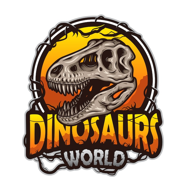 Emblema del mondo di dinosauri con teschio di tirannosauro. colorato isolato su sfondo bianco Vettore Premium