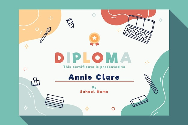 Modello di diploma per bambini con elementi Vettore Premium