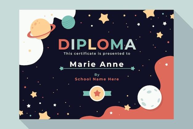 Modello di diploma per bambini con universo Vettore Premium