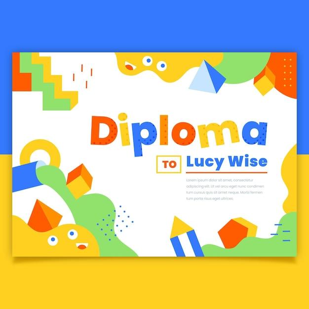 Tema modello di diploma per bambini Vettore Premium