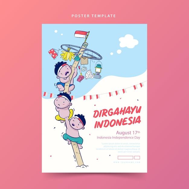 Dirgahayu o celebrazione manifesto di festa dell'indipendenza dell'indonesia con l'illustrazione del fumetto del palo scivoloso rampicante Vettore Premium