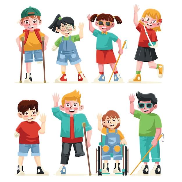 Collezione di personaggi per bambini disabili con colore piatto stile diverso Vettore Premium